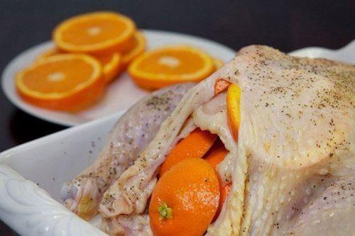 Курица, запеченная с апельсинами