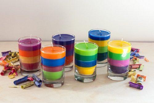 Как своими руками сделать разноцветные свечи