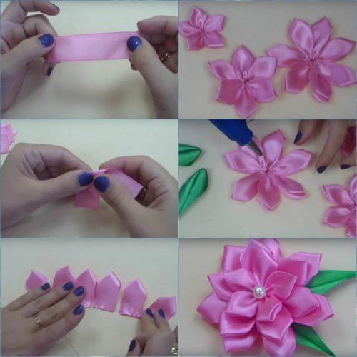 Как сделать цветок из ленточки атласной