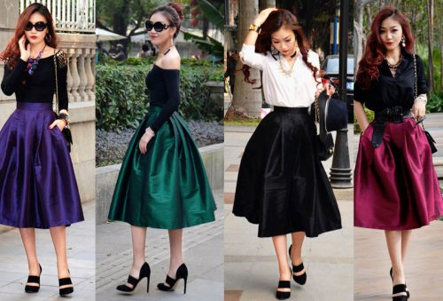 New-2015-Summer-Spring-Fashion-Ball-Gown-Womens-Street-Snap-Celebrity-Classic-High-Waist-Midi-Skirt
