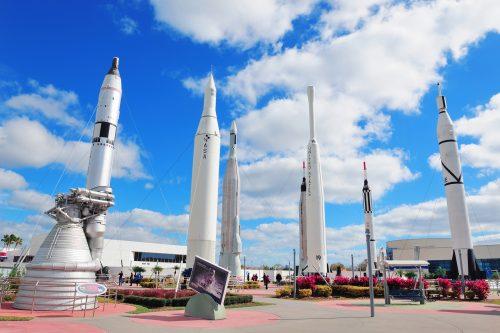 MERRITT ISLAND, FL - FEB 12: Kennedy Space Center Rocket Garden
