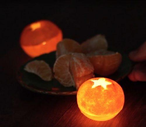 Свеча из мандариновой кожуры