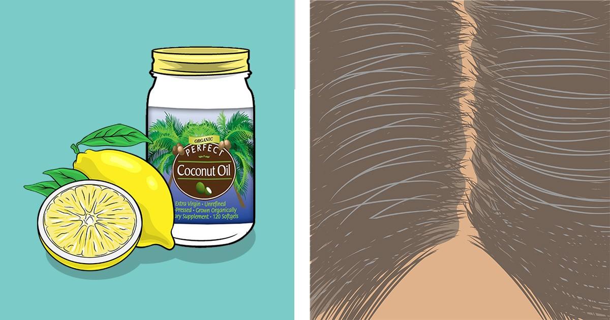 Смешайте лимонный сок и кокосовое масло — это средство возвращает седым волосам естественный цвет