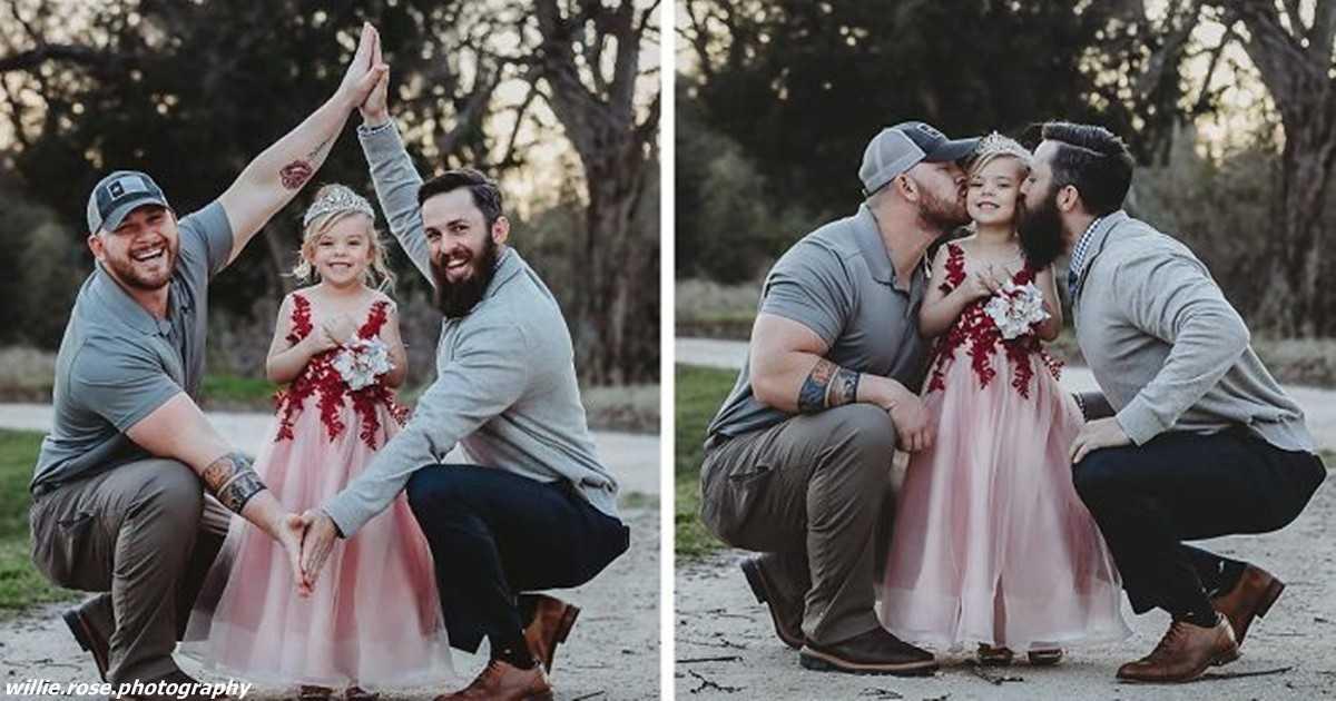 папы одного ребёнка устроили ему важную фотосессию. И нет они не геи