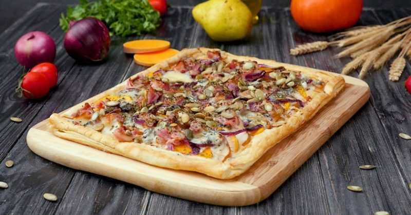 вкусная пицца с тыквой
