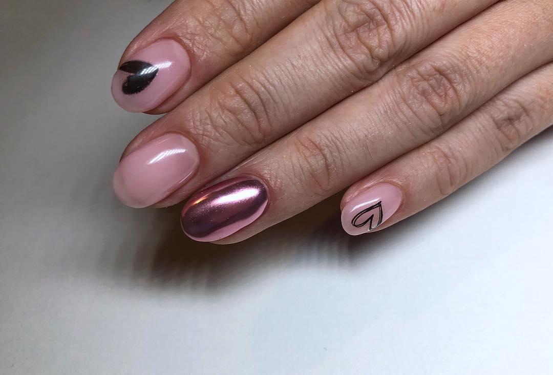 маникюр розовое золото фото_14
