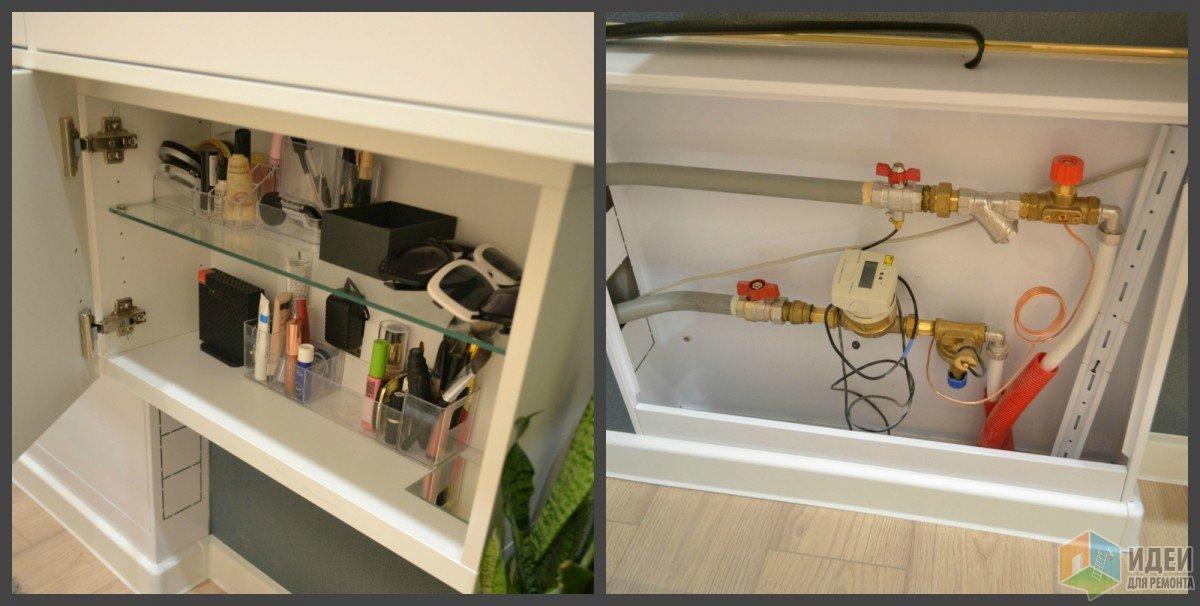роутер внутри шкафчика и счетчики на тепло