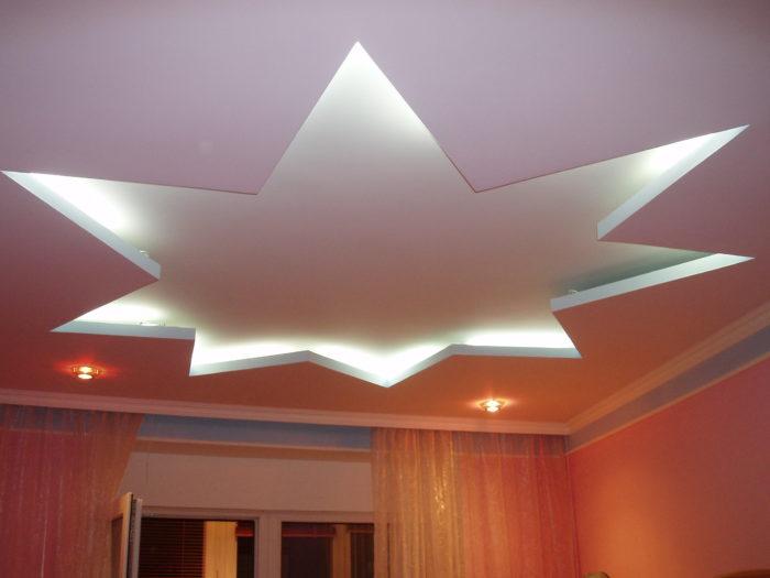 Звезда с подсветкой из гипсокартона на потолке