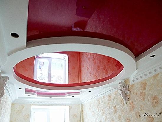 Криволинейный потолок комбинация натяжного и гипсокартона
