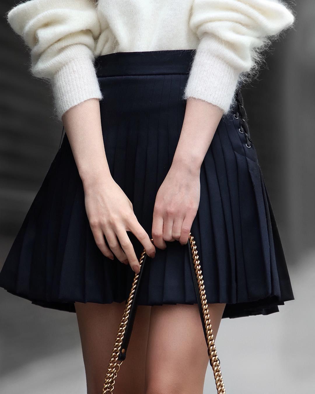 с чем носить плиссированную юбку фото 3