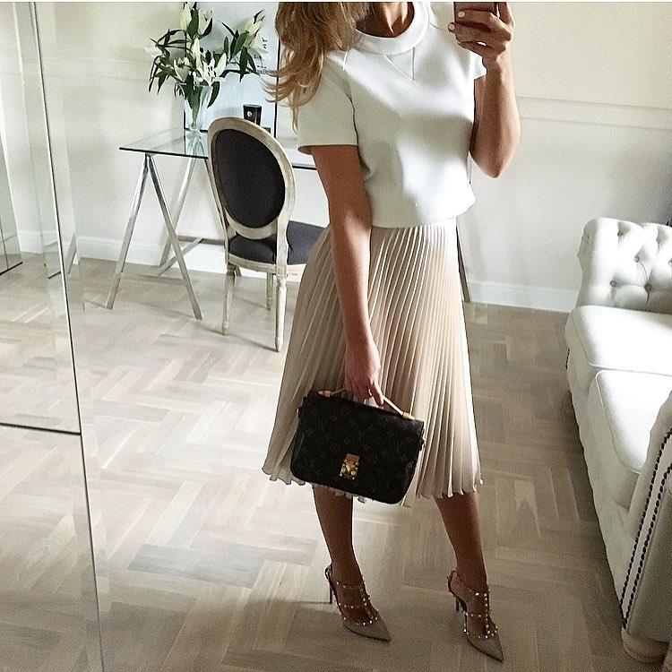 с чем носить плиссированную юбку фото 1