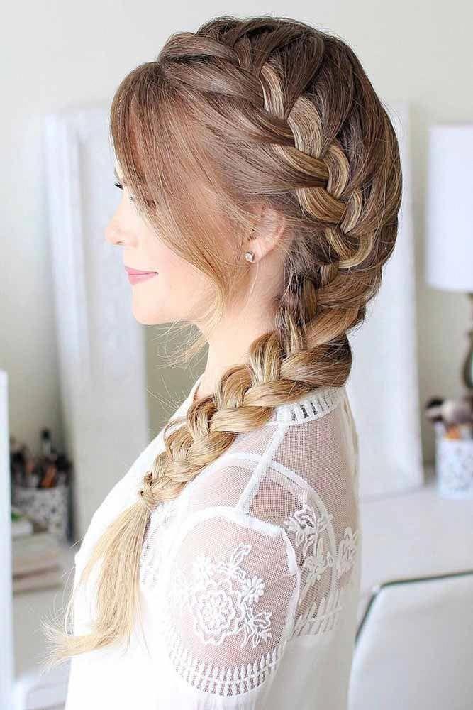 длинные волосы с косой челкой фото 32