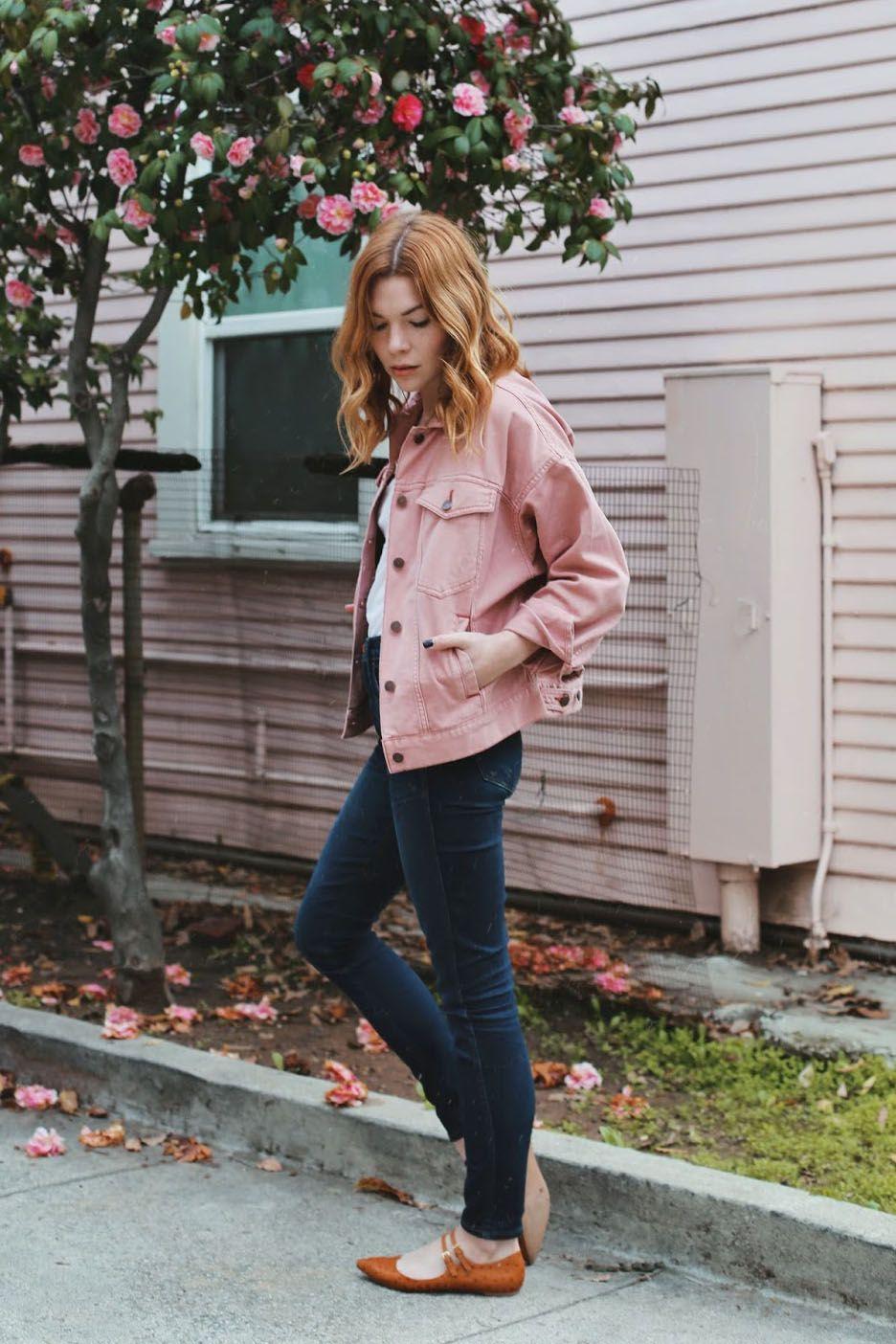 Розовая джинсовая куртка фото 5