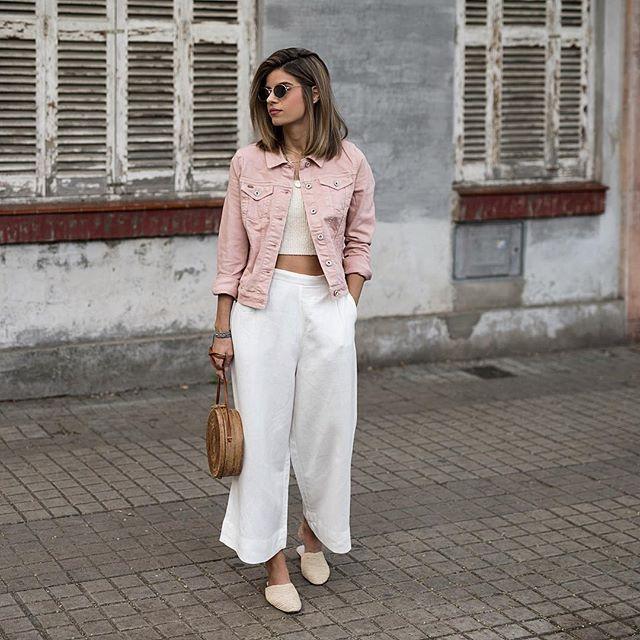 Розовая джинсовая куртка фото 4