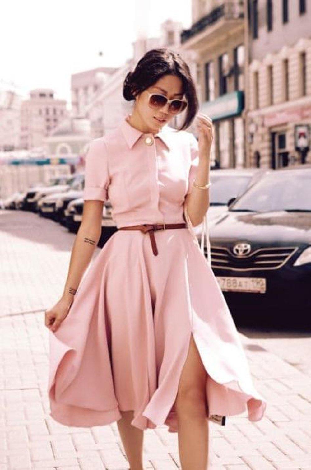 Пудровое платье фото 1