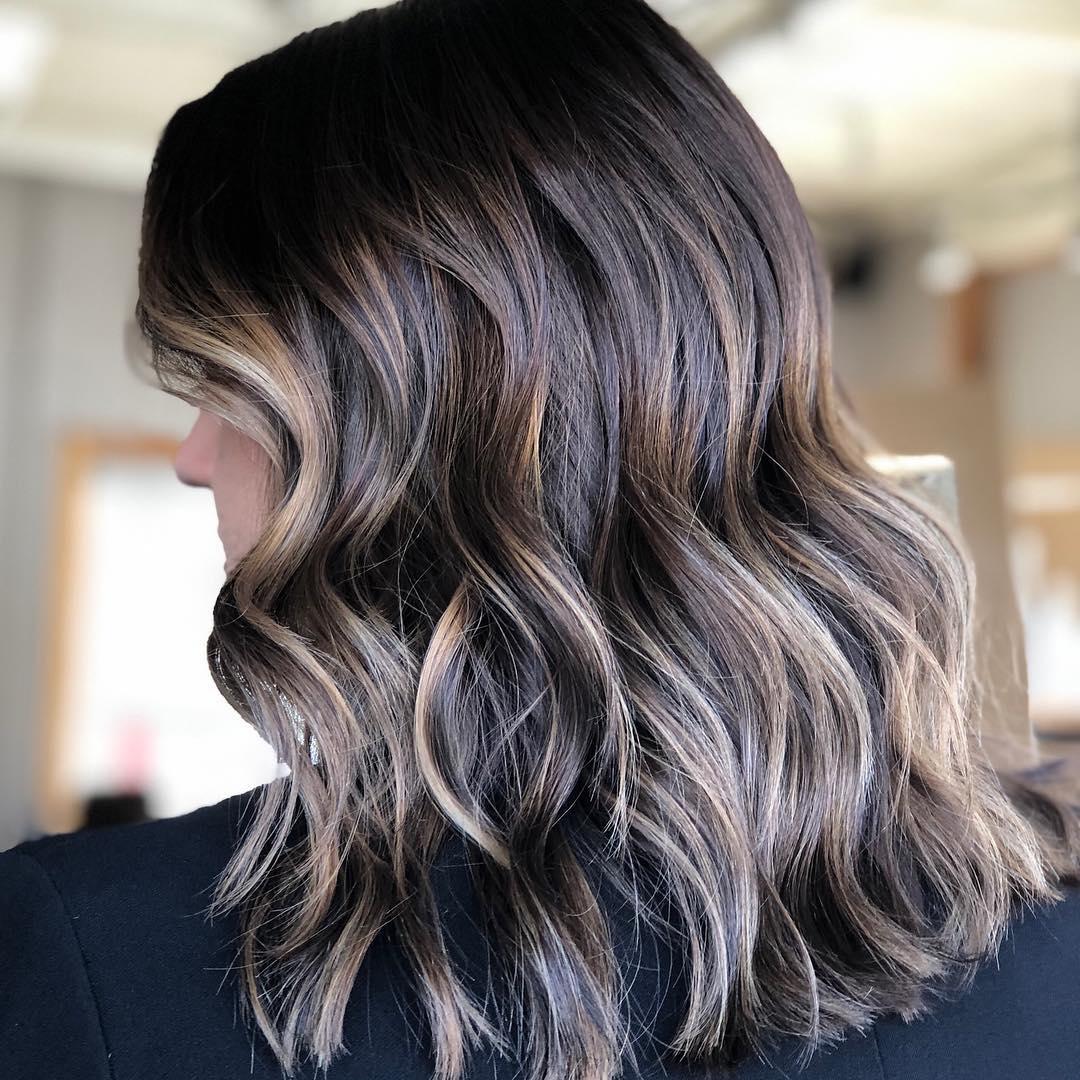 окрашивание тёмно-каштановых волос фото 3