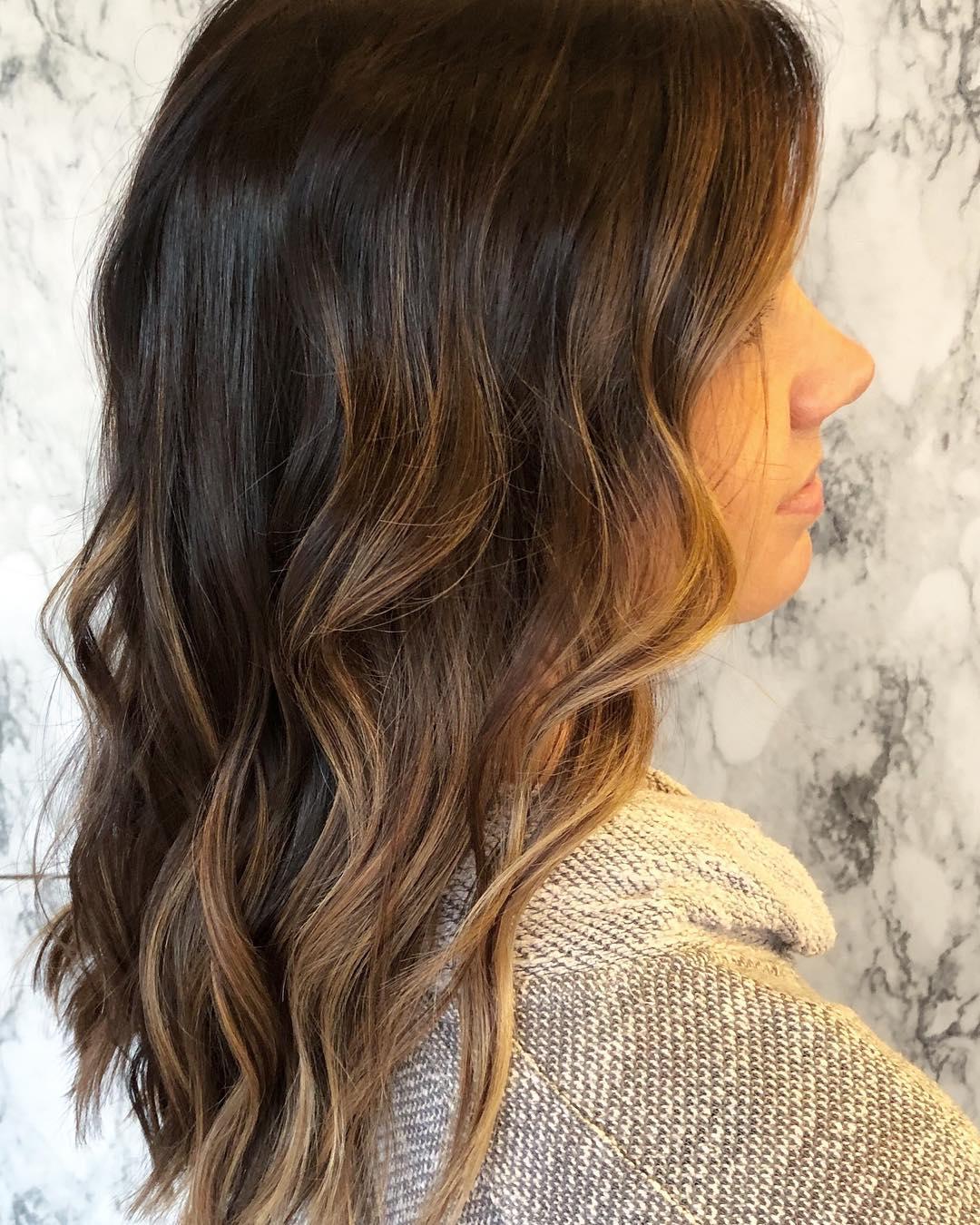 окрашивание тёмно-каштановых волос фото 9