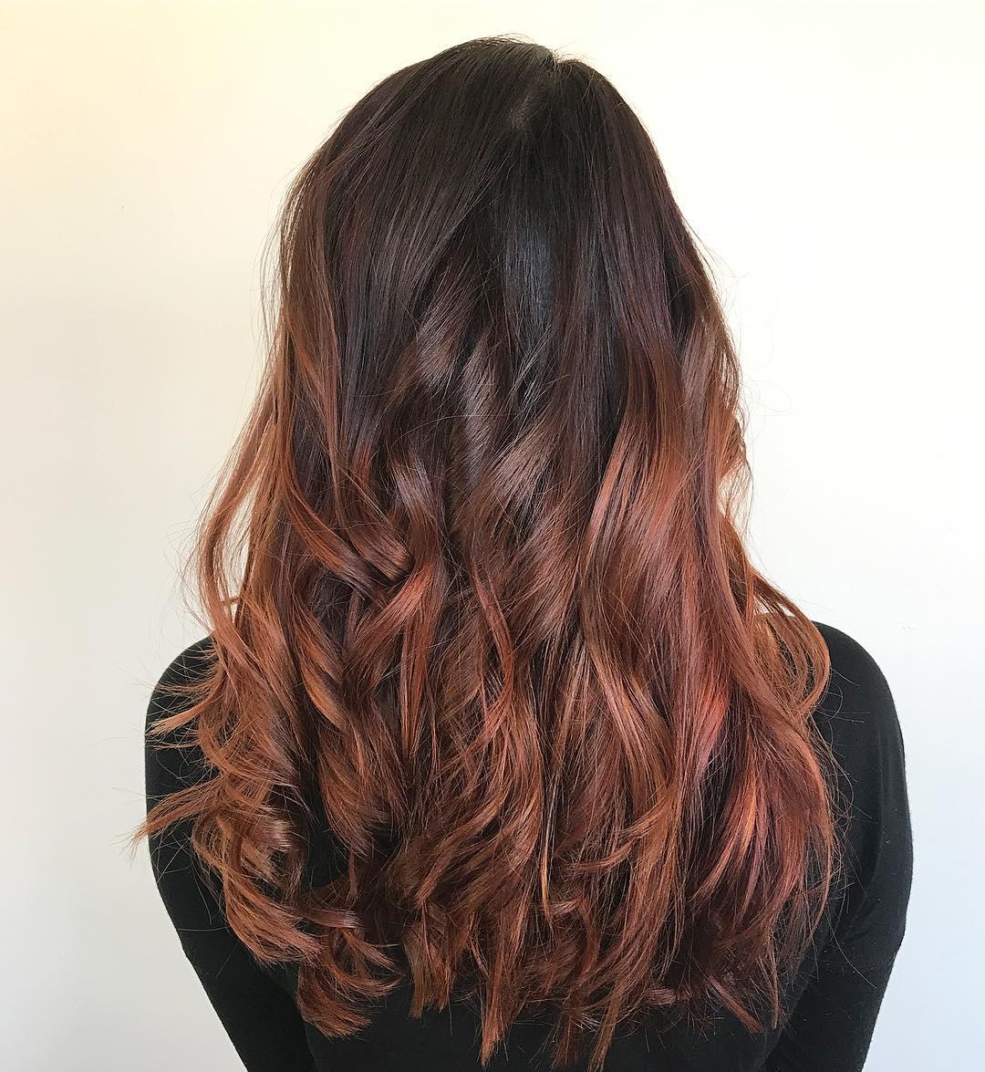 окрашивание тёмно-каштановых волос фото 13
