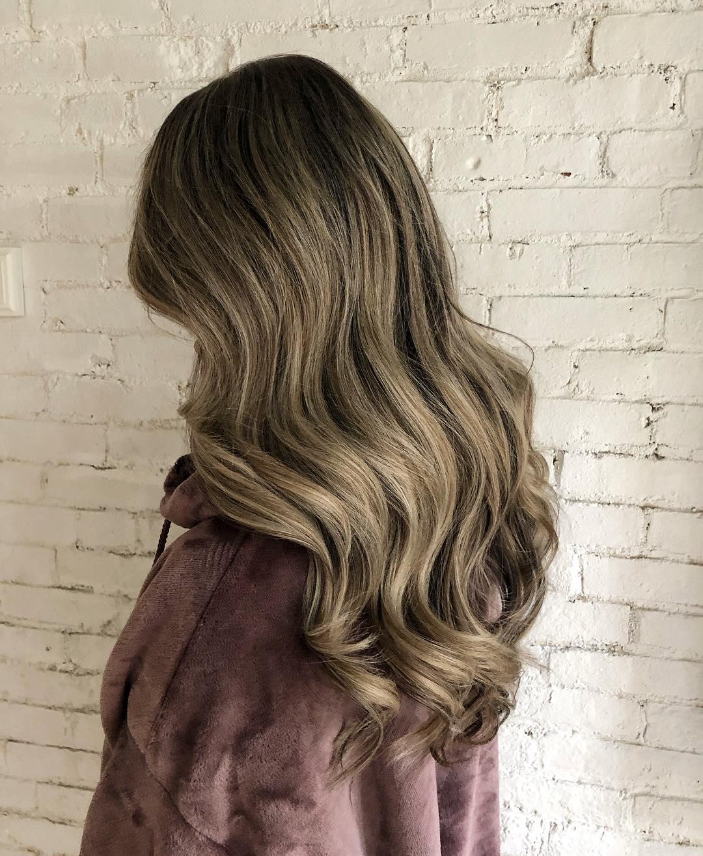 окрашивание тёмно-каштановых волос фото 14