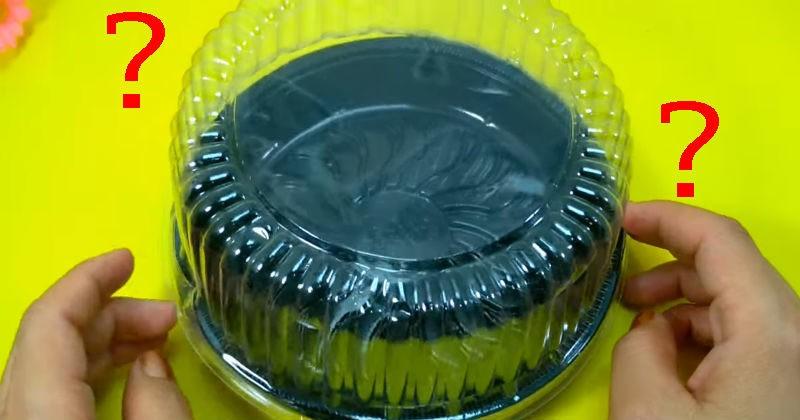 zanjatnaja ideja ispolzovanija plastikovoj upakovki iz pod torta