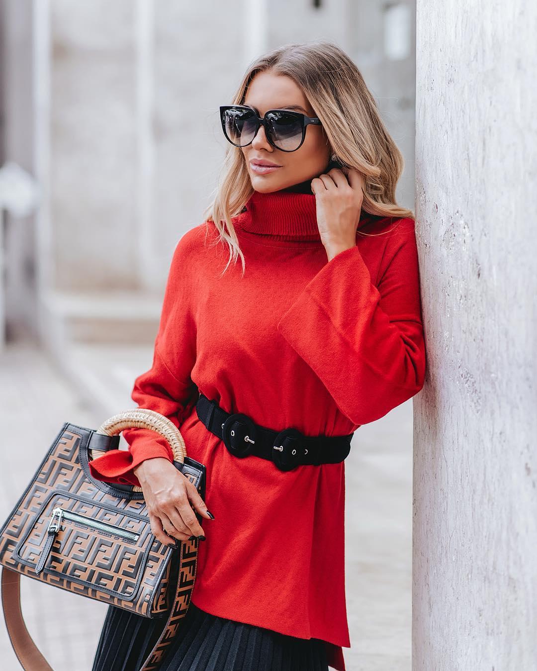 модные осенние образы в красном цвете фото 2