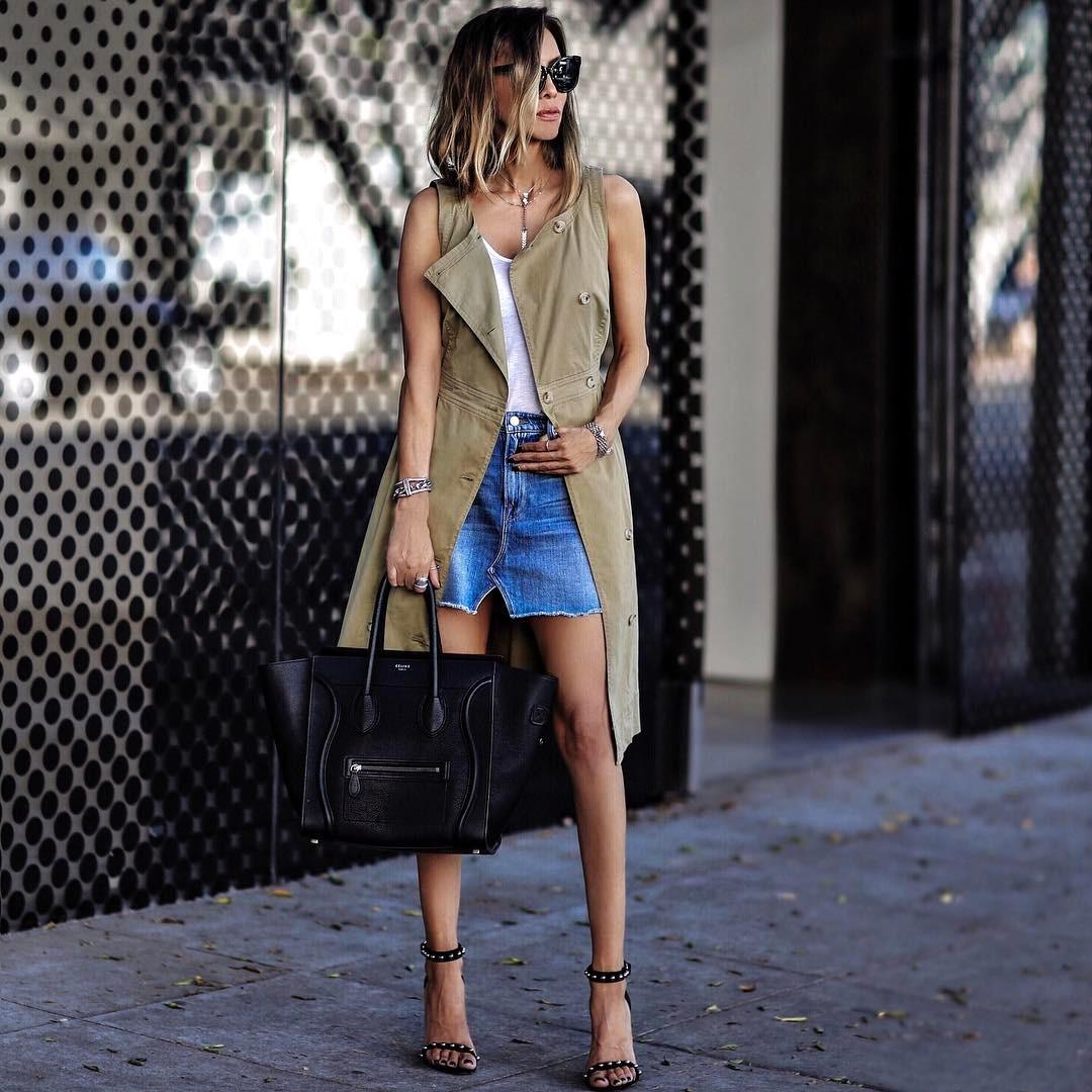 с чем носить джинсовую юбку фото 15