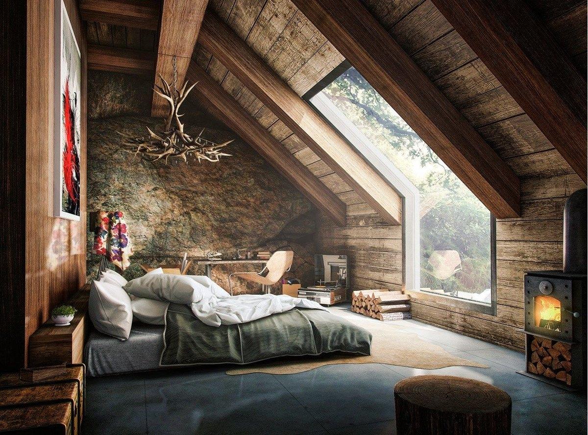 Идеи дизайна спальни на мансарде фото 1