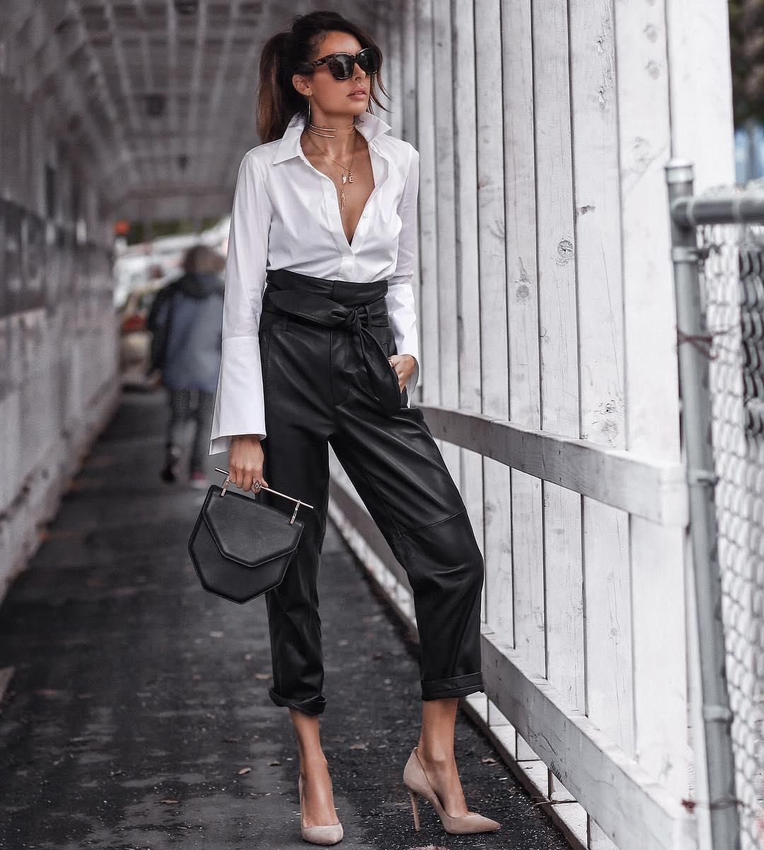 кожаные брюки 2020 фото 15