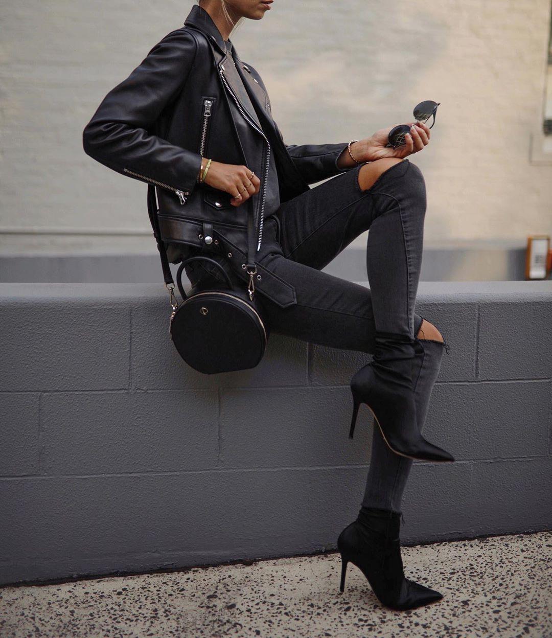 кожаная куртка и джинсы фото 17