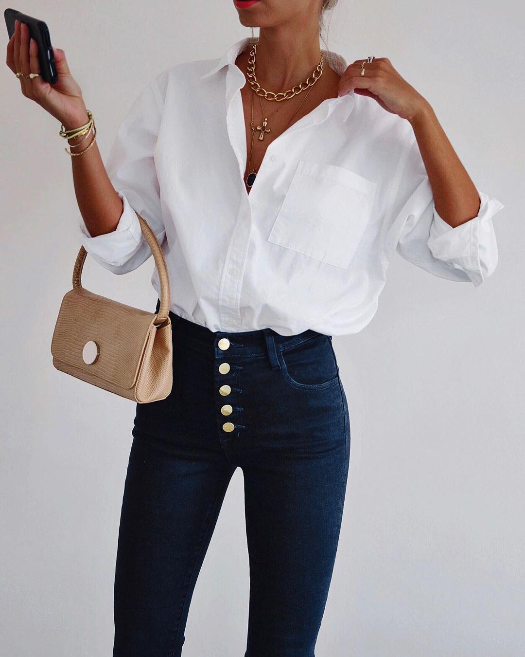 белая рубашка с джинсами фото 13