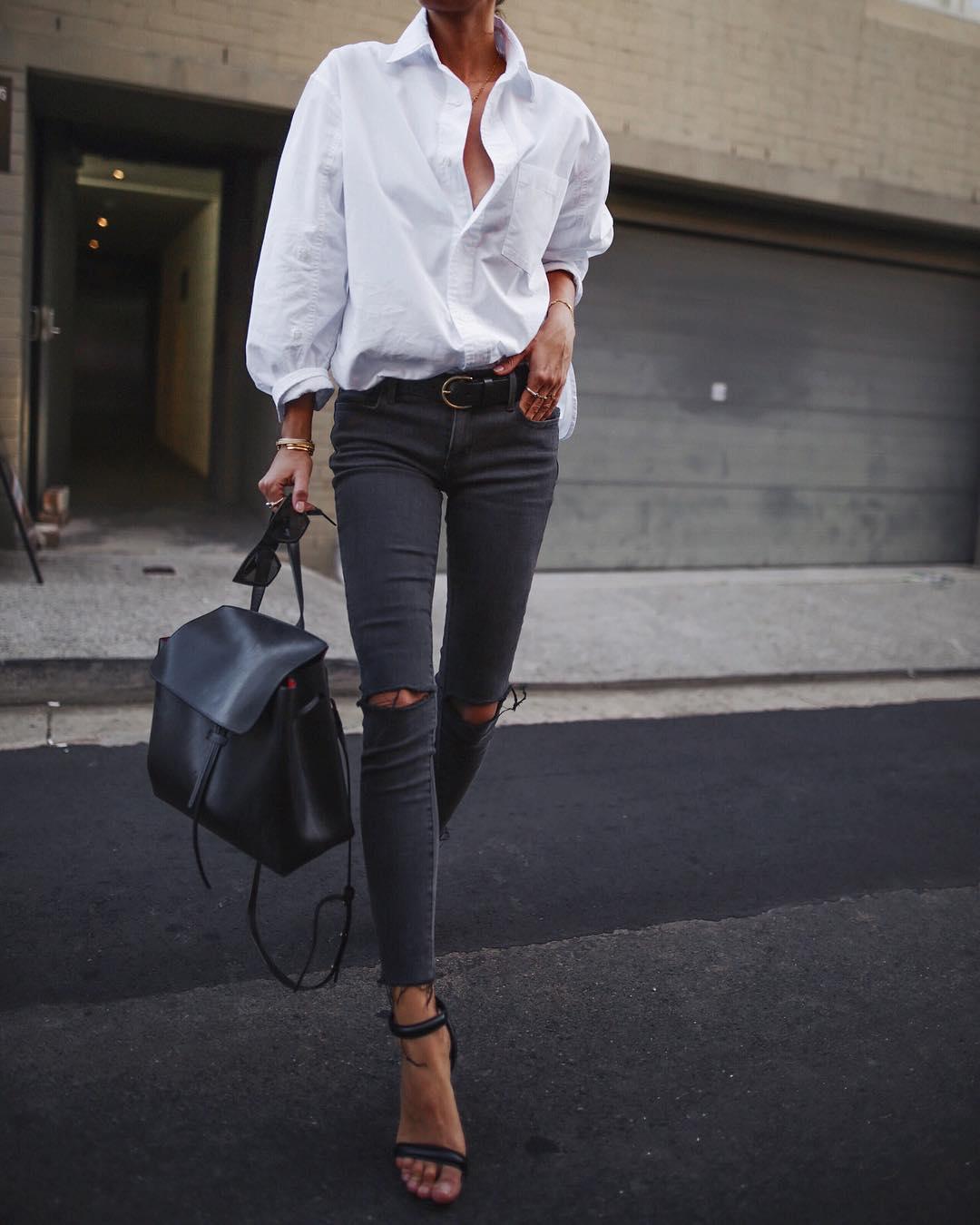 белая рубашка с джинсами фото 3