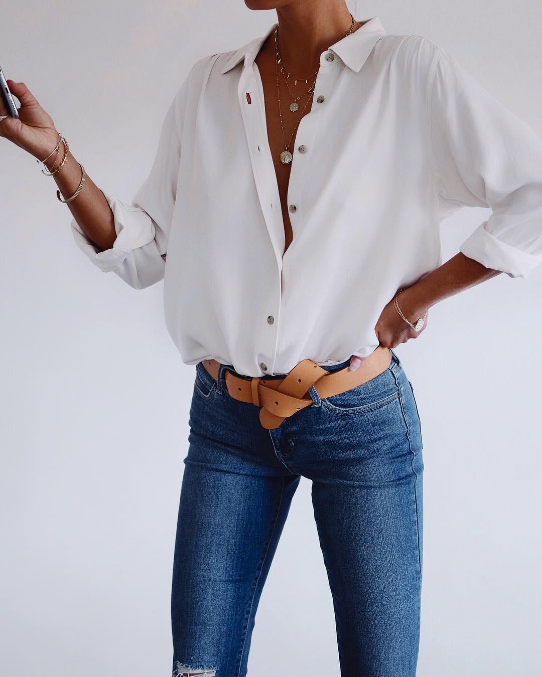 белая рубашка с джинсами фото 5
