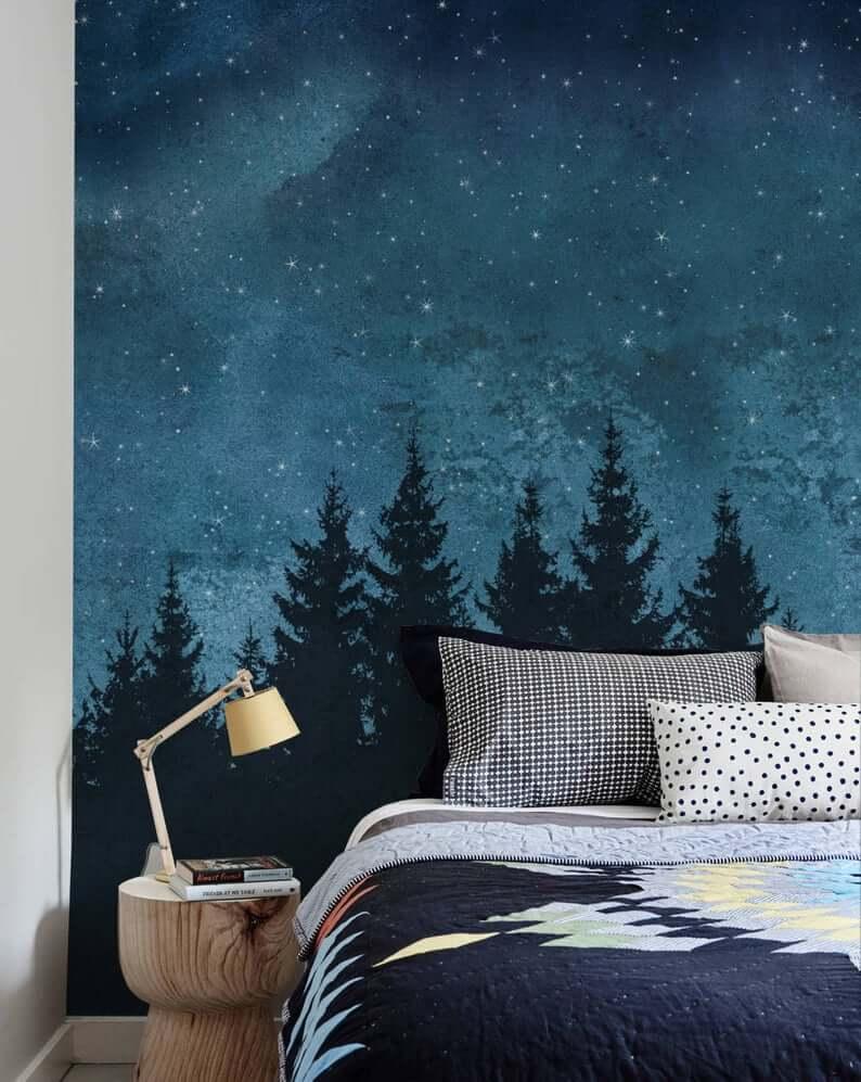 спальня в тёмно-синих тонах фото 10
