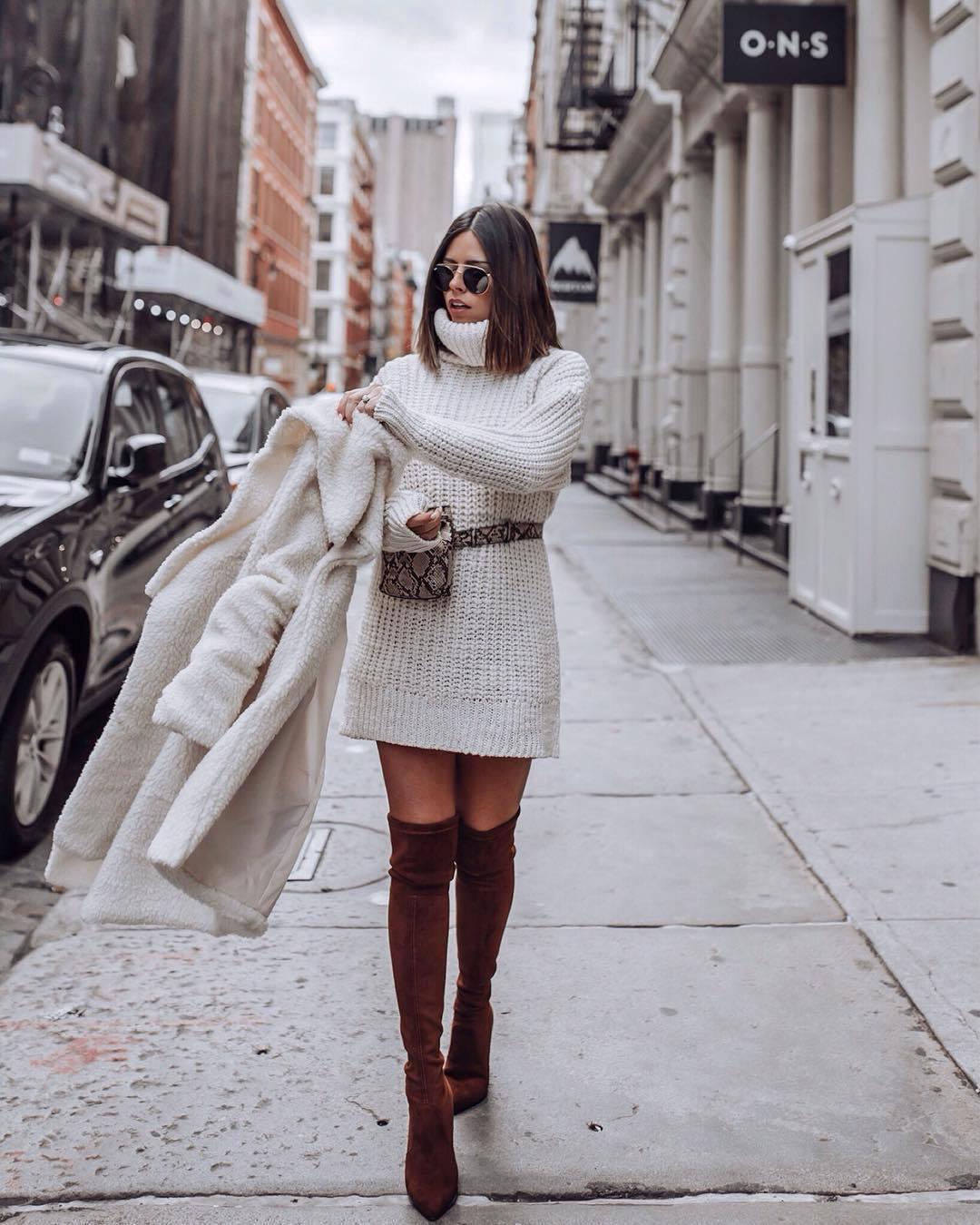 Модные зимние образы в белом цвете фото 14